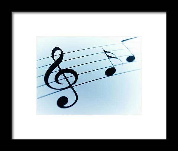 Sheet Music Framed Print featuring the photograph Treble Clef And Notes by Adam Gault
