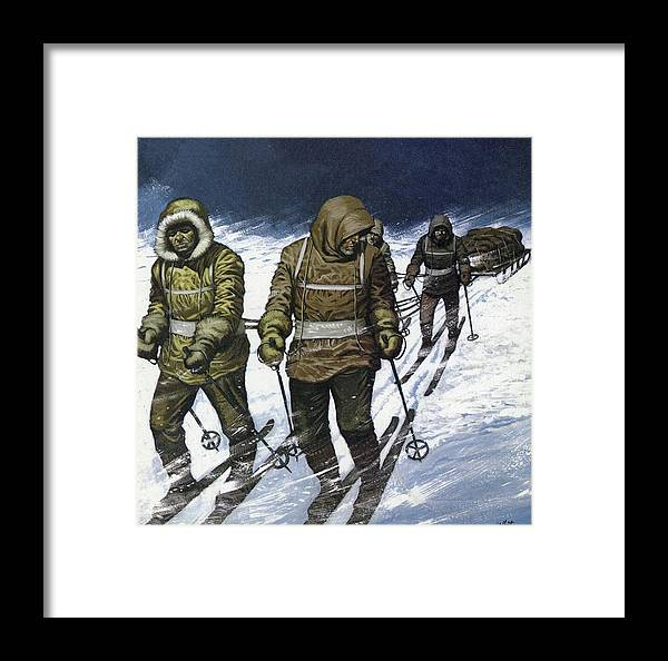 Trek Framed Print featuring the painting Trek To The Pole by Mike White