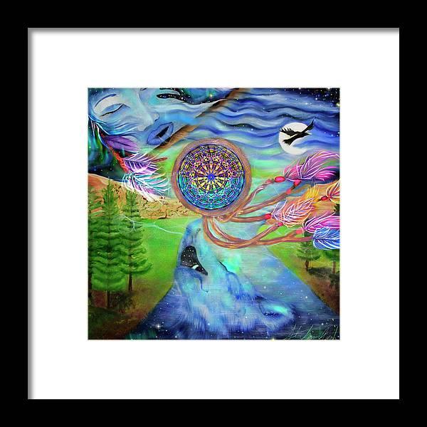 Tribal Dream Catcher Wolf Framed Print featuring the painting Tribal Dream Catcher Wolf by Stephanie Analah