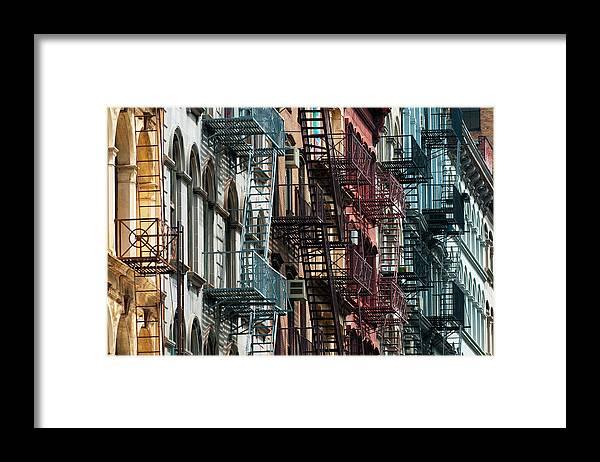 Downtown District Framed Print featuring the photograph Tribeca Fire Escapes by Joseph O. Holmes / Portfolio.streetnine.com