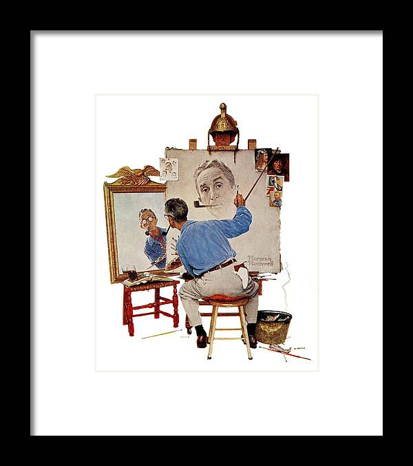 Artists Framed Print featuring the drawing Triple Self-portrait by Norman Rockwell