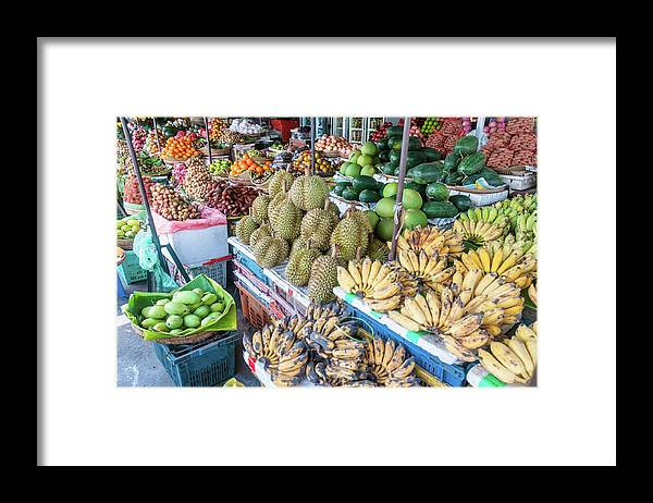 Mango Fruit Framed Print featuring the photograph Tropical Fruit At A Street Market In by Tbradford