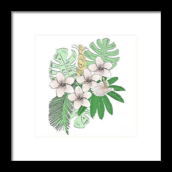 Flowerbed Framed Print featuring the digital art Tropical Vector Illustration by Tapilipa