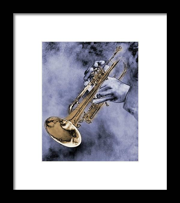 One Man Only Framed Print featuring the digital art Trumpet Player by Nick White