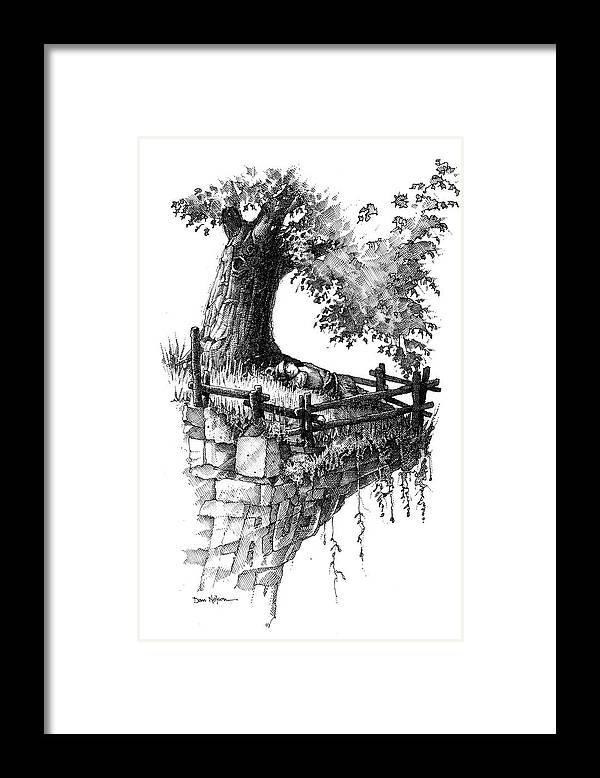 Trust. Sleeping In Peace. Tree And Cliff. Fence. On The Edge. Resting In Peace. Trust Illustration. Sleeping In Peace Illustration. Tree And Cliff Illustration. Fence Illustration. On The Edge Illustration. Resting In Peace Illustration. Framed Print featuring the drawing Trust by Dan Nelson