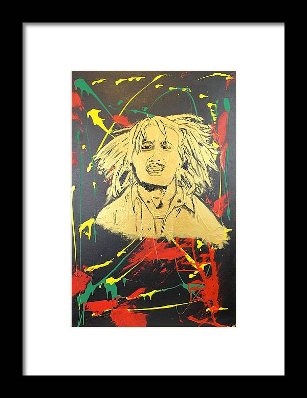 Bob Marley Framed Print featuring the painting Tuff Gong by Sonye Locksmith
