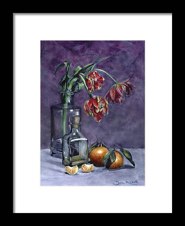 Tulip Framed Print featuring the painting Tulips And Oranges by John Neeve