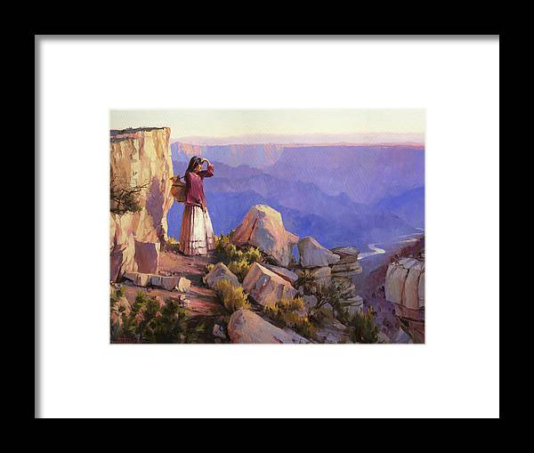 Grand Canyon Framed Print featuring the painting Turning Point by Steve Henderson