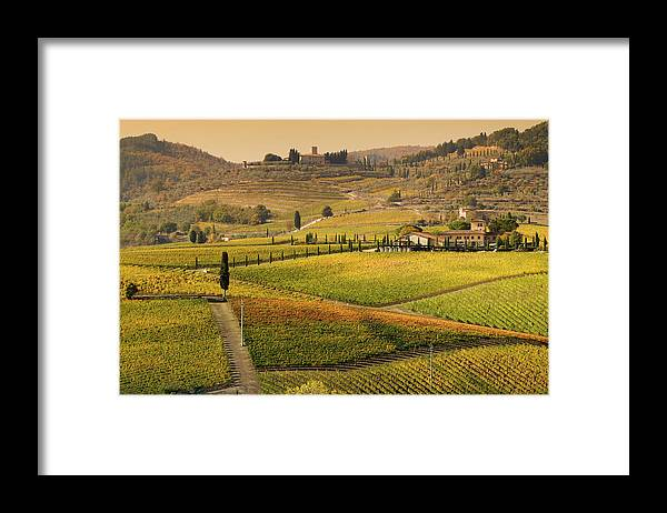 Scenics Framed Print featuring the photograph Tuscany Farmhouse And Vineyard In Fall by Lisa-blue