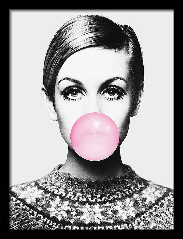 Twiggy Pink bubble gum Minimalistic Modern Art by Julia Emelianteva