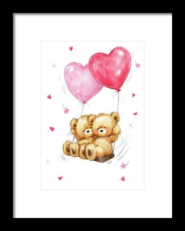 Two Bears On Heart Swing Framed Print featuring the mixed media Two Bears On Heart Swing by Makiko