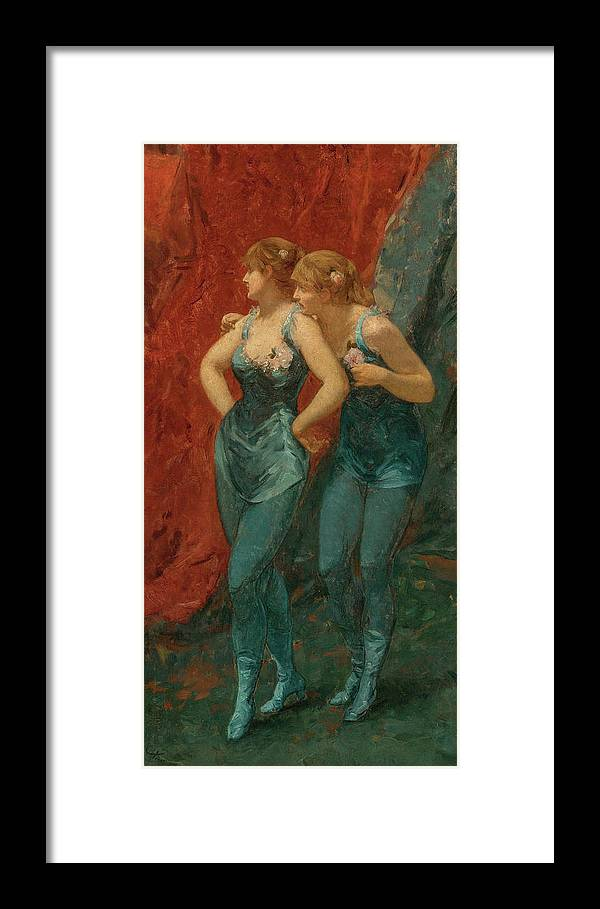 Charles Hermans Framed Print featuring the painting Two Dancers, 19th Century by Charles Hermans