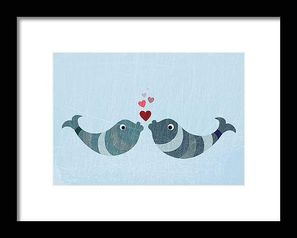 Underwater Framed Print featuring the digital art Two Fish Kissing by Fstop Images - Jutta Kuss