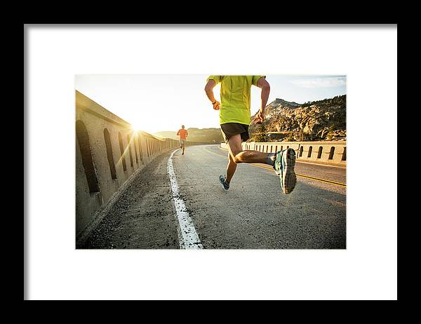 Scenics Framed Print featuring the photograph Two Men On An Early Morning Run by Jordan Siemens