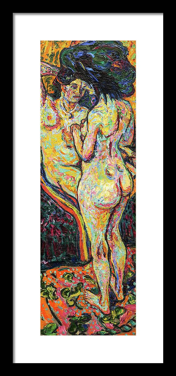 Ernst Ludwig Kirchner Framed Print featuring the painting Two Nudes, Obverse, 1907 by Ernst Ludwig Kirchner