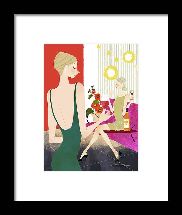 People Framed Print featuring the digital art Two Woman Drinking Wine by Eastnine Inc.
