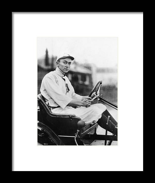 American League Baseball Framed Print featuring the photograph Ty Cobb Driving Car In Uniform by Authenticated News