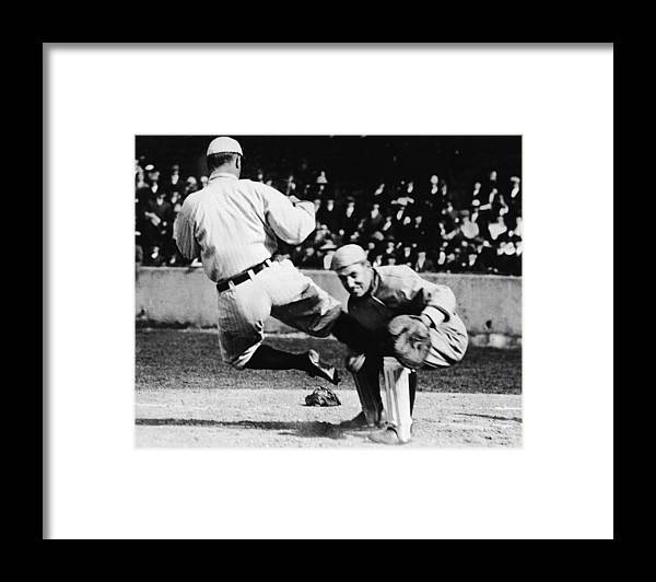 Baseball Catcher Framed Print featuring the photograph Ty Cobb Sliding Into Catcher by Pictorial Parade