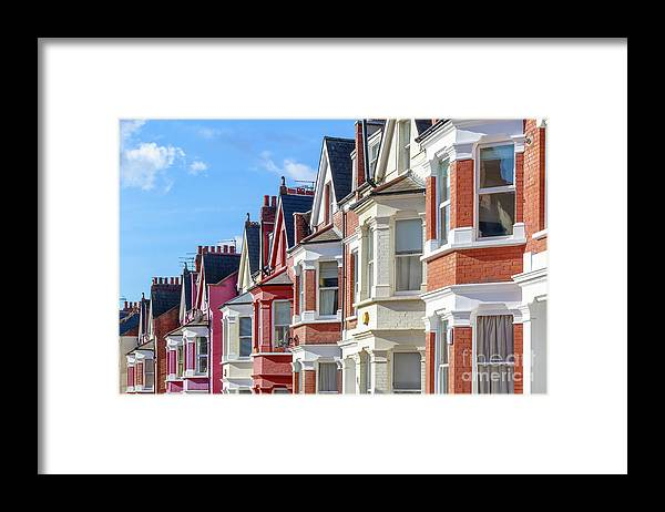 Row House Framed Print featuring the photograph Typical English Terraced Houses In West by Victorhuang