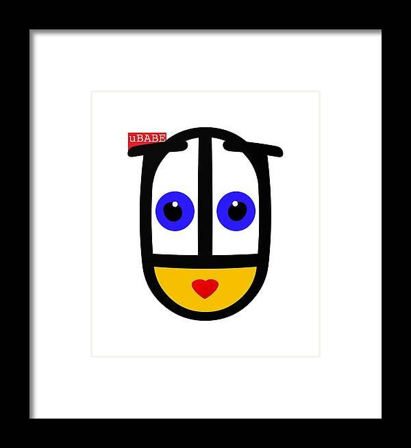 Ubabe Face Framed Print featuring the digital art uBABE Logo by Ubabe Style