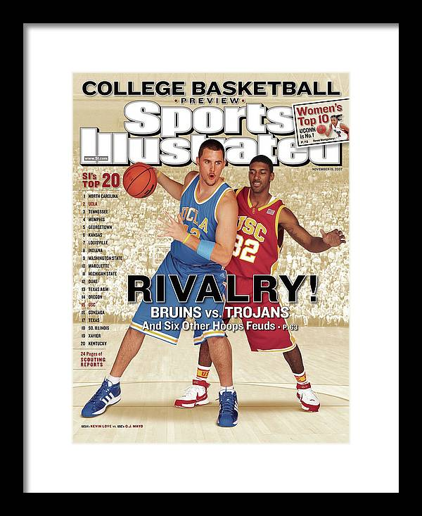 Season Framed Print featuring the photograph Ucla Kevin Love And Usc O.j. Mayo, 2007 College Basketball Sports Illustrated Cover by Sports Illustrated