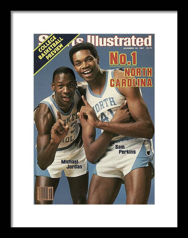 1980-1989 Framed Print featuring the photograph Unc Michael Jordan And Sam Perkins Sports Illustrated Cover by Sports Illustrated