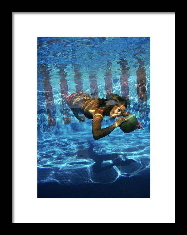 Underwater Framed Print featuring the photograph Underwater Drink by Slim Aarons