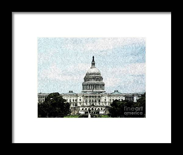 Washington Dc Framed Print featuring the digital art United State Capitol by Kenneth Montgomery