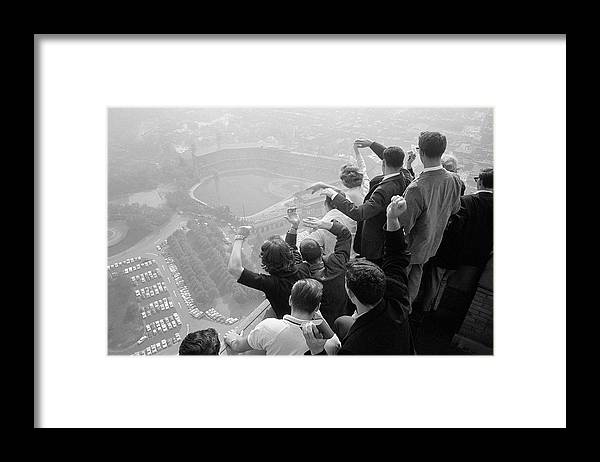 Timeincown Framed Print featuring the photograph Univ. Of Pittsburgh Students Cheering Wi by George Silk