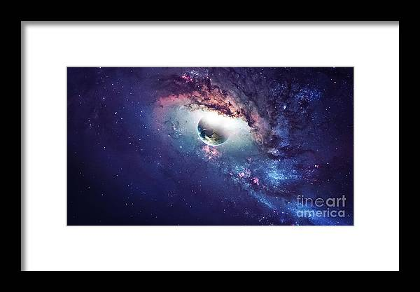 Cluster Framed Print featuring the photograph Universe Scene With Planets, Stars And by Vadim Sadovski
