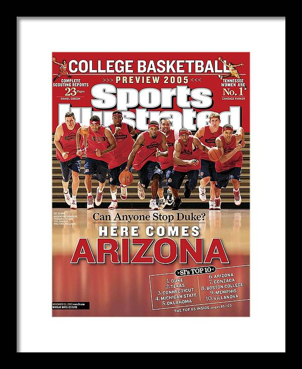 Mustafa Shakur Framed Print featuring the photograph University Of Arizona Basketball Team Sports Illustrated Cover by Sports Illustrated