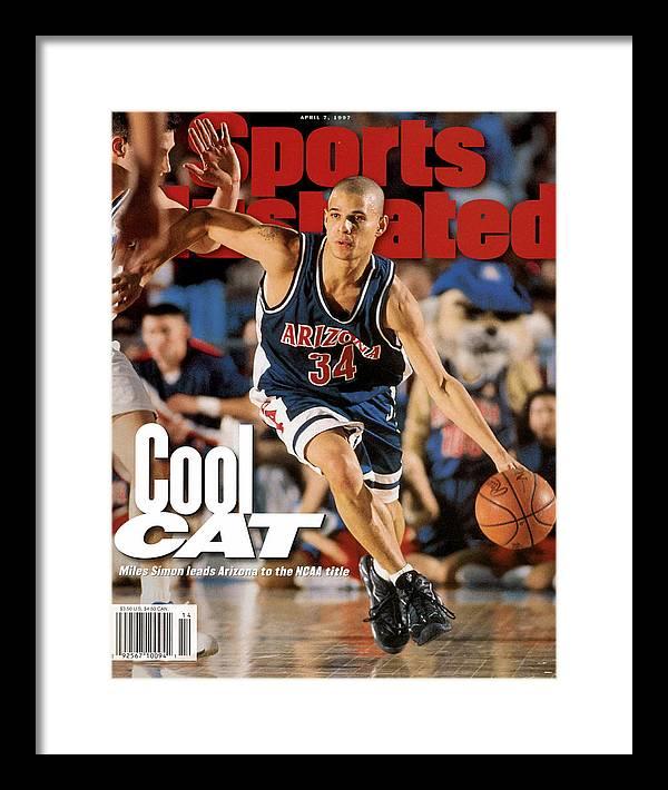 Sports Illustrated Framed Print featuring the photograph University Of Arizona Miles Simon, 1997 Ncaa National Sports Illustrated Cover by Sports Illustrated