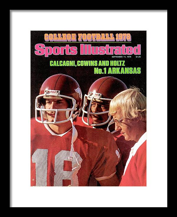 Season Framed Print featuring the photograph University Of Arkansas Coach Lou Holtz, Qb Ron Calcagni Sports Illustrated Cover by Sports Illustrated