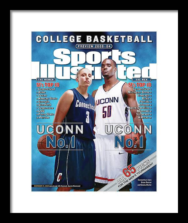 Magazine Cover Framed Print featuring the photograph University Of Connecticut Diana Taurasi And Emeka Okafor Sports Illustrated Cover by Sports Illustrated