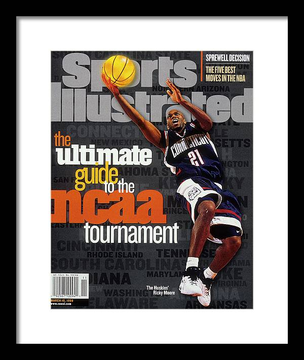 Sports Illustrated Framed Print featuring the photograph University Of Connecticut Ricky Moore, 1997 Ncaa Tournament Sports Illustrated Cover by Sports Illustrated