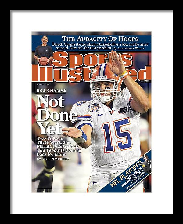 Magazine Cover Framed Print featuring the photograph University Of Florida Florida Qb Tim Tebow, 2009 Fedex Bcs Sports Illustrated Cover by Sports Illustrated