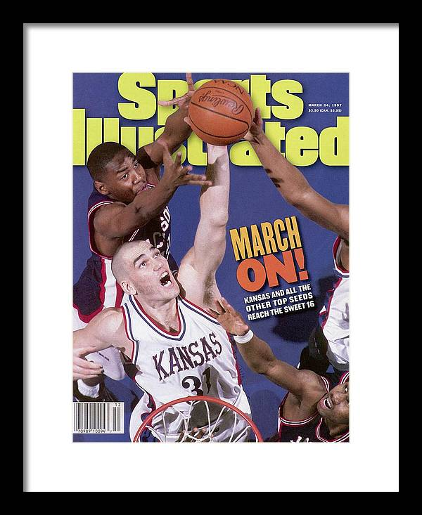 Playoffs Framed Print featuring the photograph University Of Kansas Scot Pollard, 1997 Ncaa Southeast Sports Illustrated Cover by Sports Illustrated
