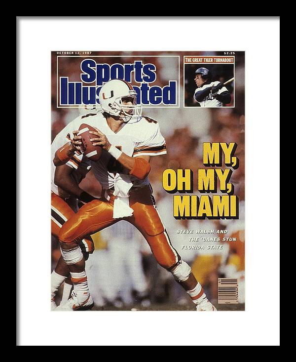 1980-1989 Framed Print featuring the photograph University Of Miami Qb Steve Walsh Sports Illustrated Cover by Sports Illustrated