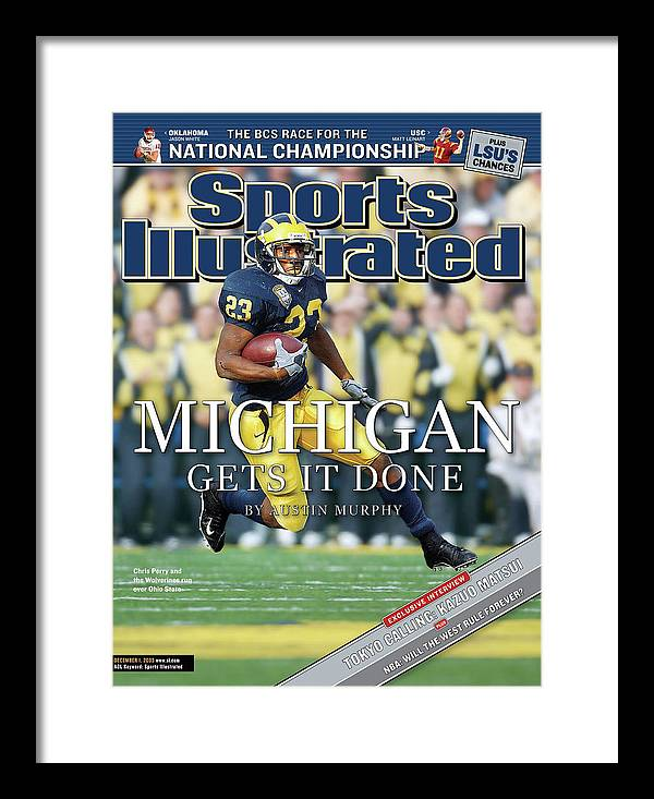 Magazine Cover Framed Print featuring the photograph University Of Michigan Chris Perry Sports Illustrated Cover by Sports Illustrated