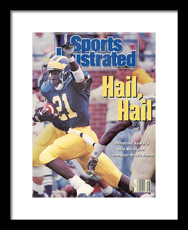 Magazine Cover Framed Print featuring the photograph University Of Michigan Desmond Howard Sports Illustrated Cover by Sports Illustrated