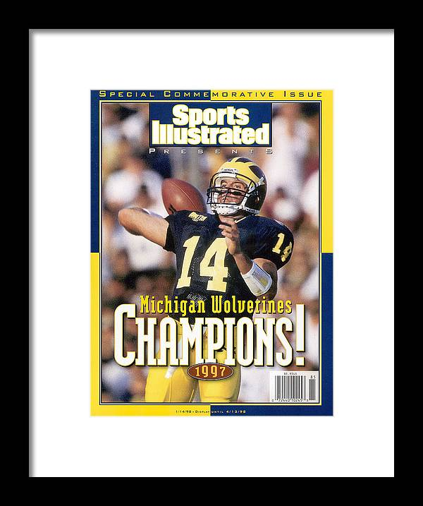 Brian Griese Framed Print featuring the photograph University Of Michigan Qb Brian Griese, 1997 Ncaa National Sports Illustrated Cover by Sports Illustrated