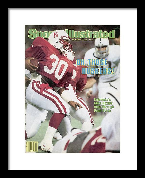 1980-1989 Framed Print featuring the photograph University Of Nebraska Mike Rozier, 1983 Kickoff Classic Sports Illustrated Cover by Sports Illustrated