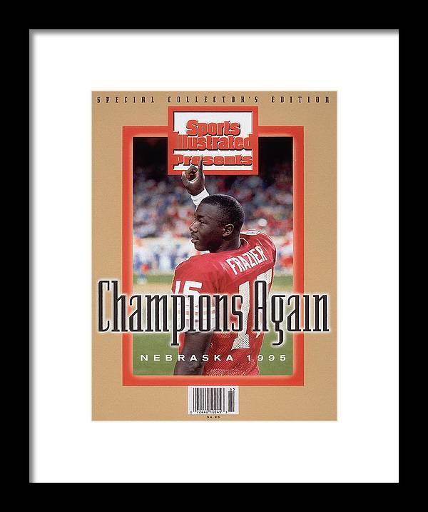 Celebration Framed Print featuring the photograph University Of Nebraska Qb Tommie Frazier, 1996 Ibm Fiesta Sports Illustrated Cover by Sports Illustrated