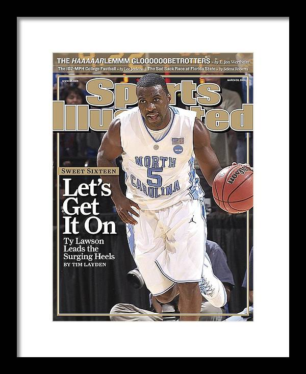 Playoffs Framed Print featuring the photograph University Of North Carolina Ty Lawson, 2009 Ncaa South Sports Illustrated Cover by Sports Illustrated