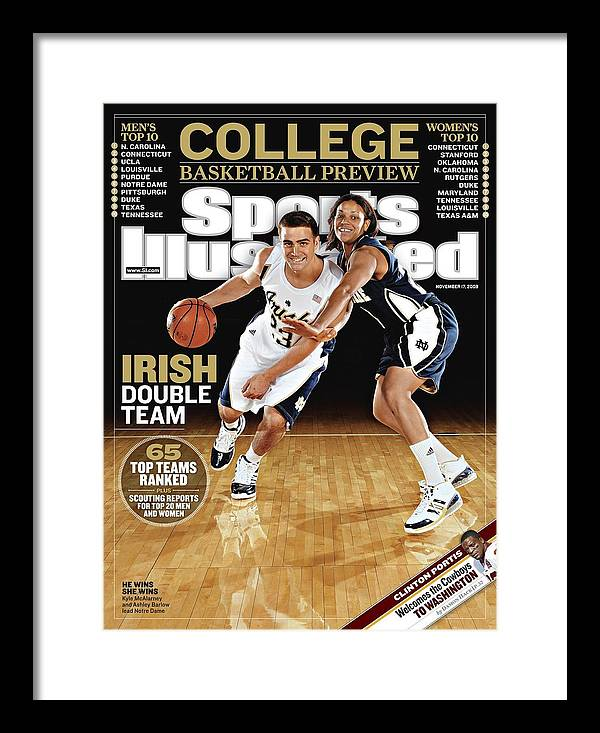 Magazine Cover Framed Print featuring the photograph University Of Notre Dame Kyle Mcalarney And Ashley Barlow Sports Illustrated Cover by Sports Illustrated