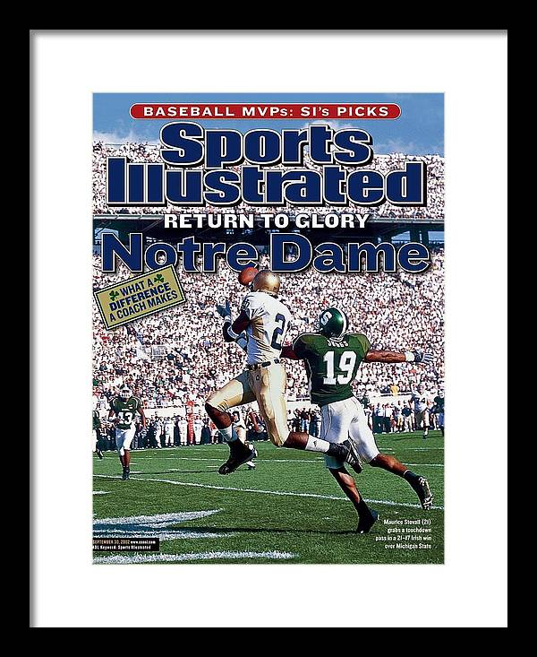 Michigan State University Framed Print featuring the photograph University Of Notre Dame Maurice Stovall Sports Illustrated Cover by Sports Illustrated
