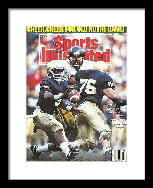 1980-1989 Framed Print featuring the photograph University Of Notre Dame Qb Tony Rice, 1989 Fiesta Bowl Sports Illustrated Cover by Sports Illustrated