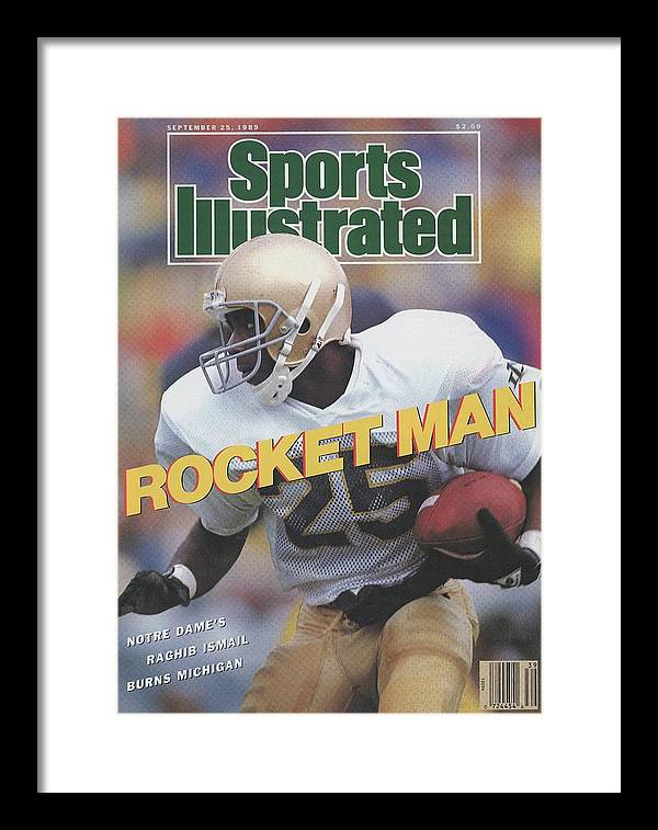 1980-1989 Framed Print featuring the photograph University Of Notre Dame Rocket Ismail Sports Illustrated Cover by Sports Illustrated