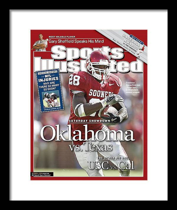 Magazine Cover Framed Print featuring the photograph University Of Oklahoma Adrian Peterson Sports Illustrated Cover by Sports Illustrated