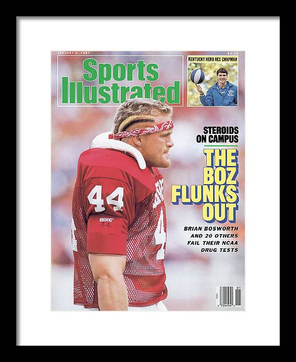 Magazine Cover Framed Print featuring the photograph University Of Oklahoma Brian Bosworth, Steroids On Campus Sports Illustrated Cover by Sports Illustrated